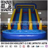 Commercial Grade Giant Inflatable Water Double Lane Slip Slide For Adult With Pool Tube
