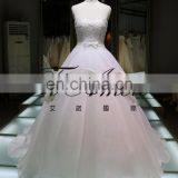 A line evening wedding dress bride Princess Tube Off Shoulder Pure White Lace Beaded Wedding Dress Ball Gown New Design