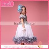 Satin kids ostrich feather wedding dress