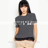 China supplier t shirt wholesale price high qualirt woman t shirt with lace stripe t shir TS082