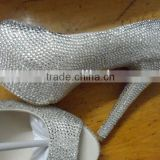 peep toe handmade clear color crystals platform pumps 5-12 full size 14cm high heel shoe