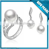 Factory Wholesle Freshwater Jewelry Set 925 Stering Silver Original Pearl Ring Settings