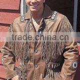 2015 New fashion Western Brown Leather Jacket with Fringe and Bone Beading for mens motorbike leather jacket