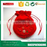 DIY hot selling coloful embroidery felt jewelry drawstring bag