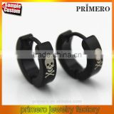 Factory Shop Cool Men's Stainless Steel Hoop Huggie Earrings Skull Jewelry Simple Black Color