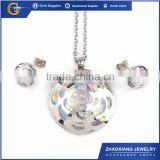 CCJS0037 2014 new design CZ jewelry sets, 316l stainless steel jewelry sets (pendant, Earring)
