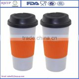 Eco-friendly Double Wall PP Plastic Drinking Tumbler Coffee Cup Mug With Lid And Silicon Rubber