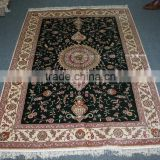 handmade silk carpet in black color iranian turkish design guangzhou factory