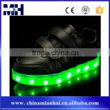 Gold Supplier Flashing Children Lace Up Glowing Black Led Light Kids Shoes