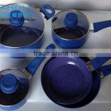8 PCS PRESSED NON-STICK MARBLE FORGED COOKWARE SET/STONE COATING WITH GERMANY QUALITY/FRYPAN/CASSEROLE/SAUCEPAN