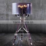 Luxurious casting iron tripod wood floor lamp with decorative art glass F2011E