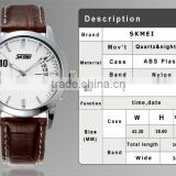 Hot Sale Cool Classic Quartz Analog Bangle Leather Cuff Watches for Men with Steel Case Model #9055