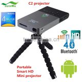 Wholesale Price Newest Led C2 Projector Android 4.4 Rk3128 Portable Pocket Mini Projector 2.4g/5g Wifi