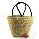 New arrival wholesale lady handbags brand name designer straw bag and summer beach bag
