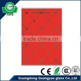guangyao glass CE certificate 5mm and 6mm tempered glass red color for kitchen cabinet door