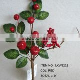 handmade artificial holly leaf and berries branches plant pick for christmas decoration indoor