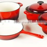 4 pieces cast iron enamel cookware set, cast iron casserole and fry pan set, cast iron kitchenware set