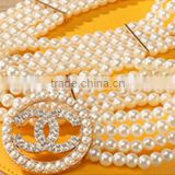 new hot-selling style ladies and women fashion all-match beige diamante pearl beads elastic decoration wide waistbelt