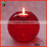 "3.15"" / 3.94 "" Height Red Color High Borosilicate Glass Tealight Candle Bubble Bowl"