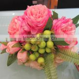 spring rose and diamond rose and carnation mixed handmade silk wedding bouquet