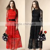 2016 sexy free collar lace long prom dress with belt