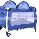 Metal Baby Playpen with Wheels, Aluminun Byby Travel Cot with Mosquito Net