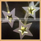 2016 new arrival christmas lights decorations with wooden star battery operated powder led string light