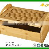 High Quality Unique Bamboo Wood Kitchen Storage Bread Box With Cutting Board