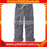 Custom comfortable grey causal cotton cute cargo style boys fashion multiple pockets child pants