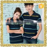 Wholesale summer white black striped cotton custom fashion couple polo shirt