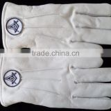 Masonic Craft Regalia white Leather Square & Compass Emblem Glove