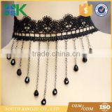 Modern lace black crystal water drop tassel necklace chain small court dress necklace lace up choker