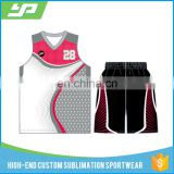 Cool design digital printing reversible blank basketball jersey black and red