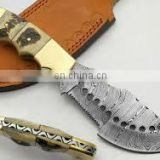 "wholesale Damascus knifes - Custom Made Damascus 29"" Machete Hunting Knife + White Micarta Handle"