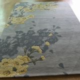 China Yellow Floral Rug and Carpet For Living Room