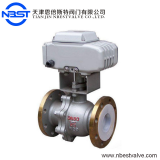 motorized stainless steel  lining ptfe flange ball valve for anti-corrosive