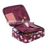 Clear Cosmetic Makeup Bag Toiletry Travel Kit Organizer New 2015 (Flower in Wine Red)