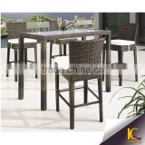 outdoor plastic resin wicker rattan watr proof bar table and chairs furniture