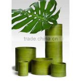 High quality best selling eco friendly spun bamboo green laccquer tube vase from Vietnam