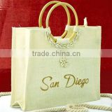 white jute bag with bamboo handle, wholesale jute beach bag