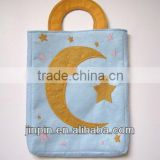 moon/star applique environmental felt gift bag