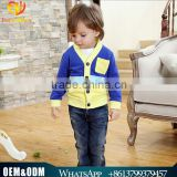 Wholesale 2016 new child suit Korean version spell color striped knit cardigan jacket long-sleeved T-shirt three-piece hole jean