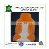 orange real wool long and shorn sheepskin front car seat cushion