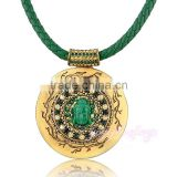 Buddha round design PU leather chain gold pendant necklace