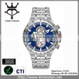 New Blue Luxury Mens Watches Stainless Steel Dive Watch Man Wristwatch Diving Chronograph Watch