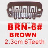 BRN-6# Retail and wholesale 23mm long Brown color 6 U shape teeth easy snap clips for hair extensions wigs wefts weavings