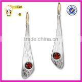 Wholesale long blade silver pendant with ring circle link like necktie earring beat earring with red diamond