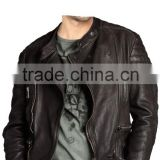 ASYMMETRIC QUILTED ZIPPER LEATHER BIKER JACKET
