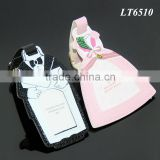 Wedding Party Souvenir Gifts Bridegroom Black Suit Bride Pink Wedding Dress Wholesale Leather Luggage Tags Wedding Favor