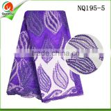 New arrival purple tulle lace fabric african french net 2016 embroidered tulle african french lace NQ195-5